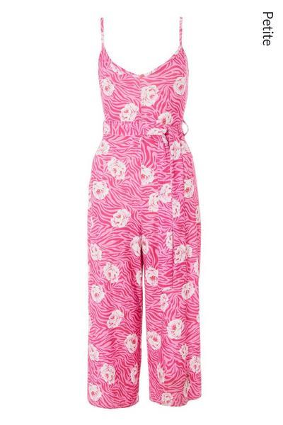 Petite Pink Floral Culotte Jumpsuit